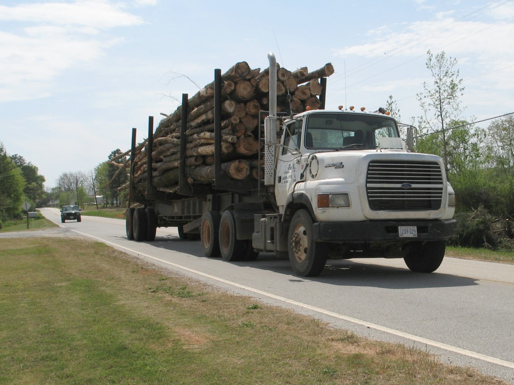 Log-hauling trucks