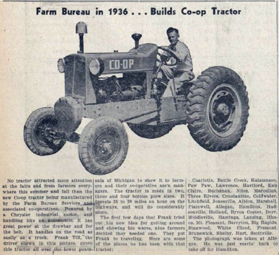CO-OP tractor in Michigan Farm News, November 1936