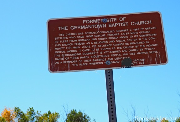 Germantown Baptist Church marker at rest stop on Hwy 15, 10 miles east of Fessenden