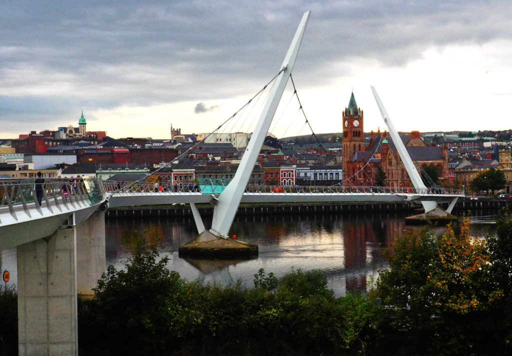 Peace Bridge across the River Foyle in Derry