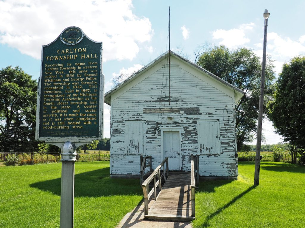 Historical Marker at the former Carlton Township Hall, Barry County, Michigan (12 Sep 2016)