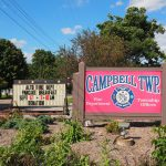 Signs at Campbell Township Hall in Ionia County, Michigan (12 Sep 2016)