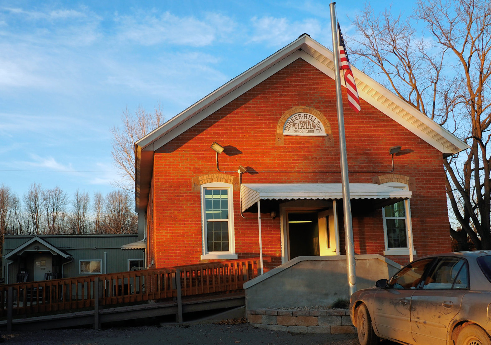Bunker Hill Township Hall, 12 November 2016. Township offices are in the gray building behind it.