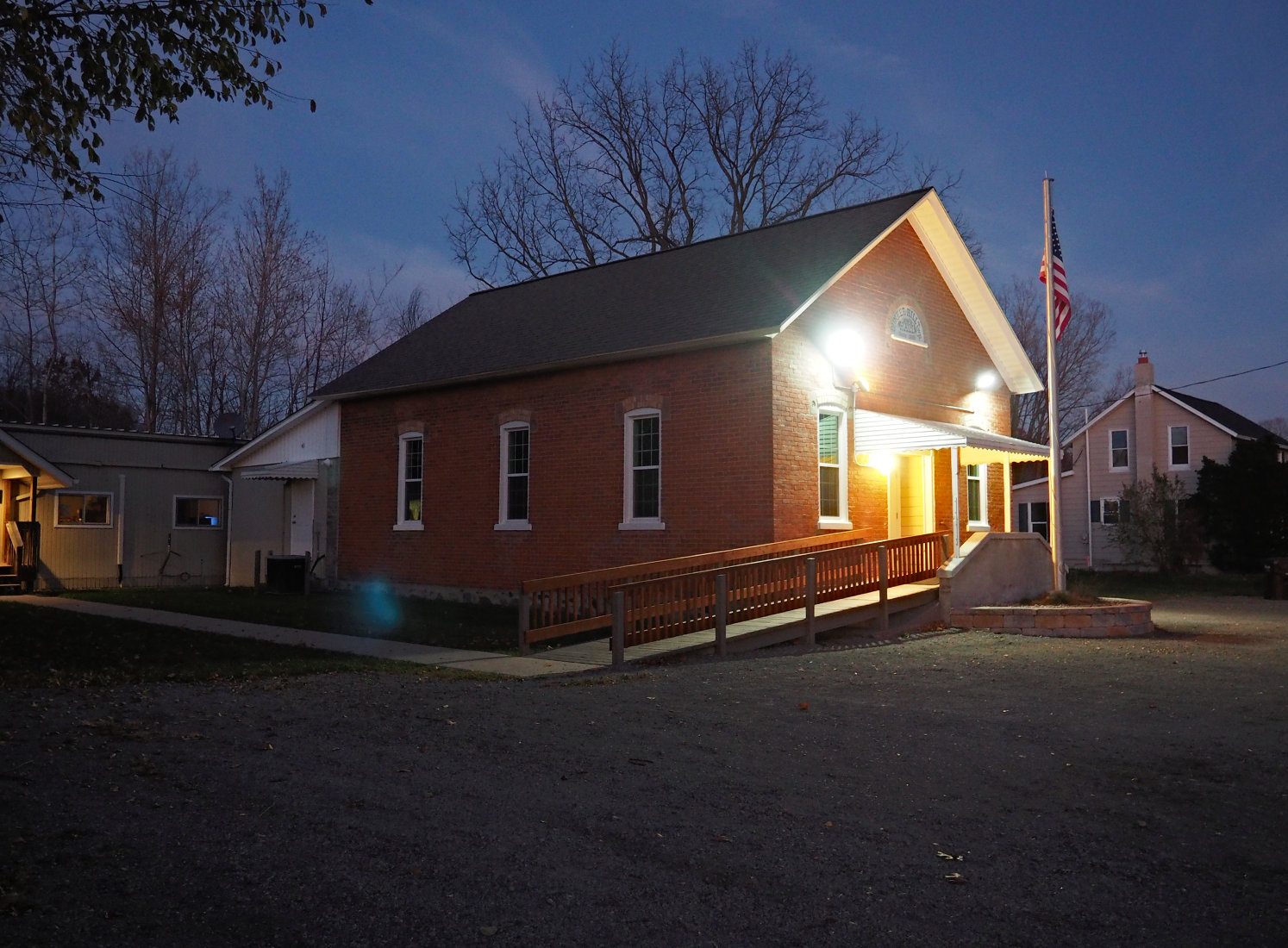 Bunker Hill Township Hall at night, after the baby shower was over, everything was cleaned up, and the last person had left. (12 November 2016)