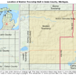 Map showing the location of Boston Township Hall in Ionia County, Michigan