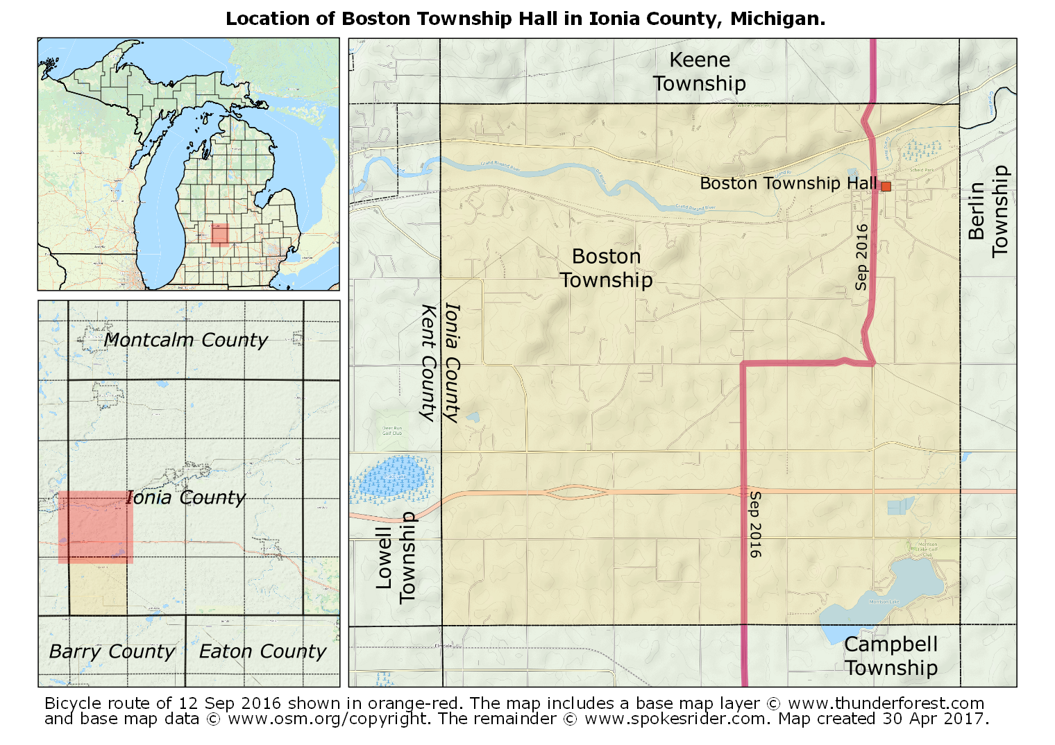 Map showing the location of boston township hall in ionia county map showing the location of boston township hall in ionia county michigan publicscrutiny Gallery