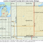 Map showing the location of Campbell Township Hall in Ionia County, Michigan