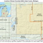 Map showing the location of Keene Township Hall in Ionia County, Michigan
