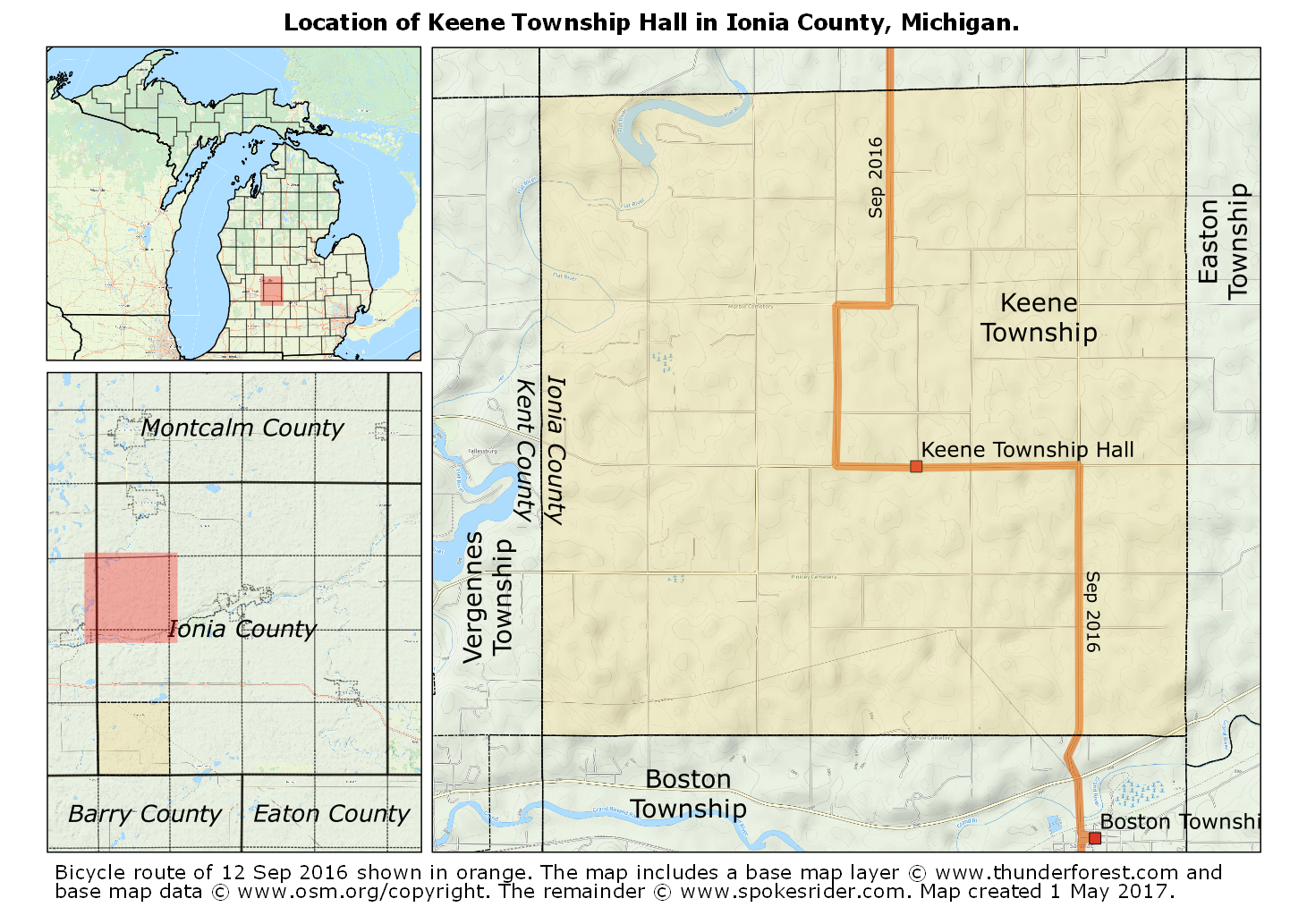 Map Showing The Location Of Keene Township Hall In Ionia County