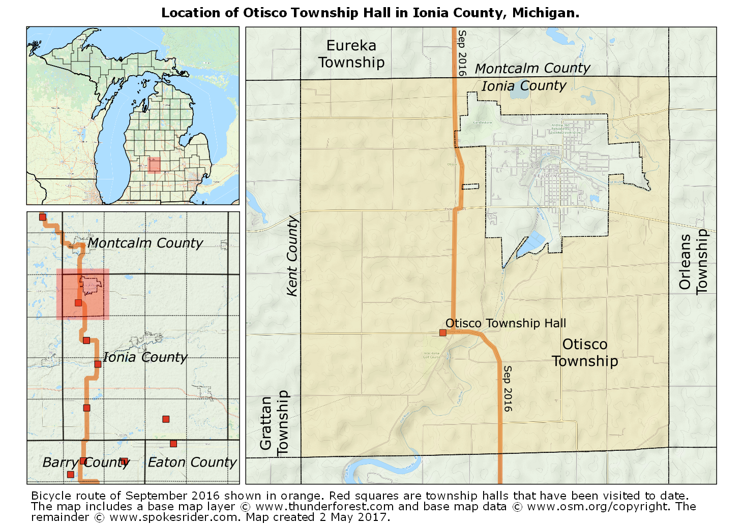 Map showing the location of Otisco Township Hall in Otisco Township, Ionia County, Michigan